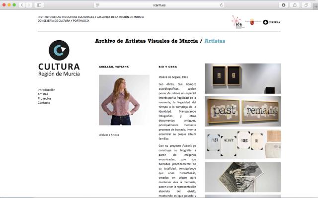 Tatiana Abellán Archivo Artistas Visuales Murcia